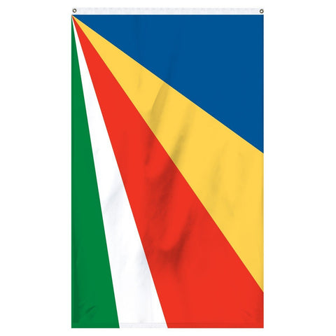 Seychelles National Flag for sale to buy online from Atlantic Flag and Pole. Beautiful colorful flag with blue, yellow, red, white, and green.