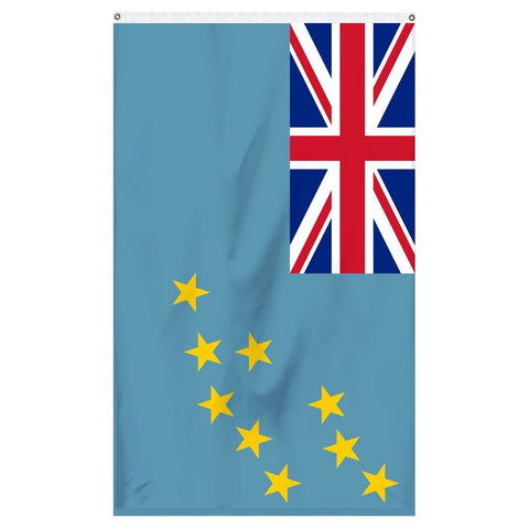 Tuvalu National Flag for sale to buy online from Atlantic Flagpole. Light blue flag with the great Britain flag in the corner and 9 golden stars