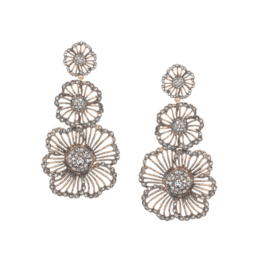 Vintage Heirloom Vintage Triple Floral Dop Earrings as featured in InStyle, Cosmopolitan, and Brides Magazines