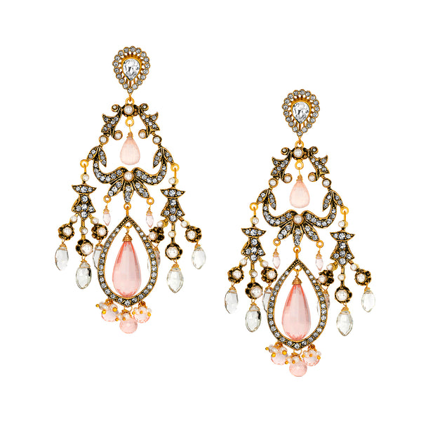 Vintage Pearl Reign Earrings with Rose Quartz Drops