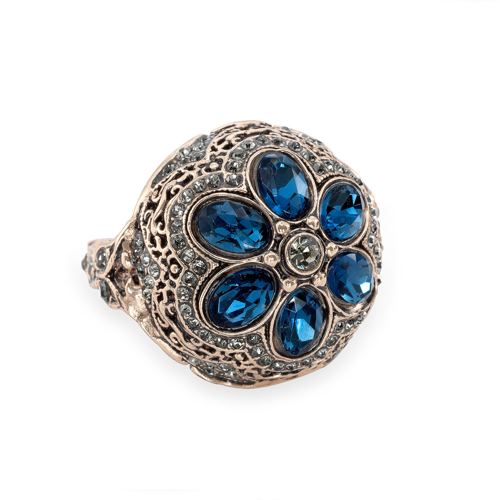 Vintage Sapphire Floral Bud Ring