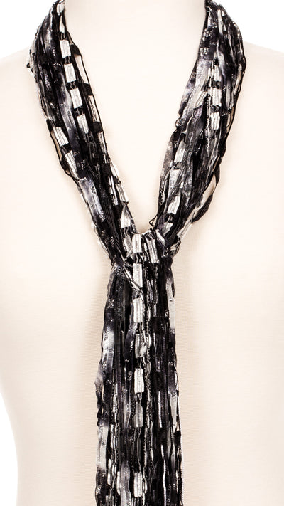 Black and White String Scarf