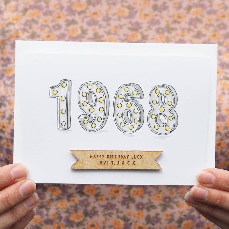 Personalised 'Year You Were Born' Lights Birthday Card-clouds-and-currents