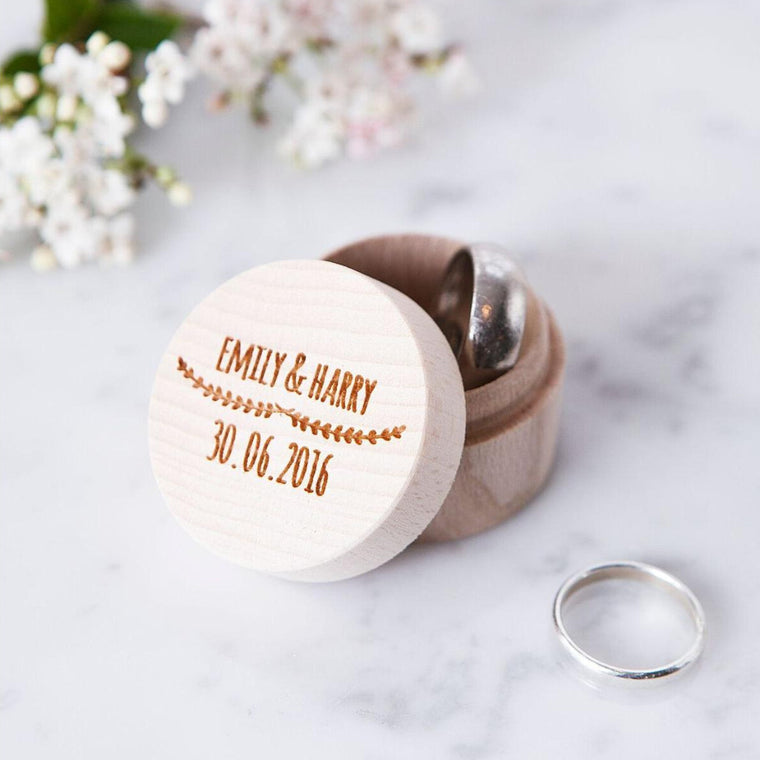 Engraved Wooden Ring Box