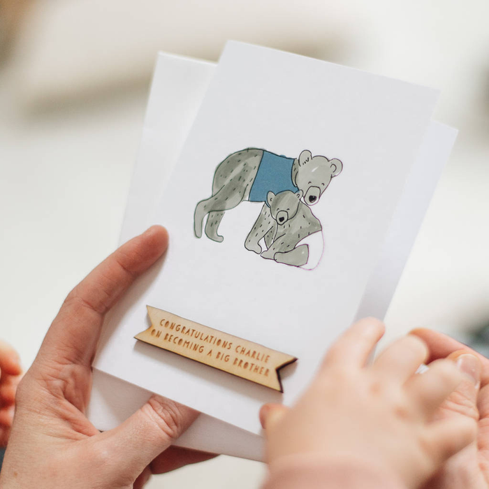 Personalised New Baby Brother Bear Card-clouds-and-currents