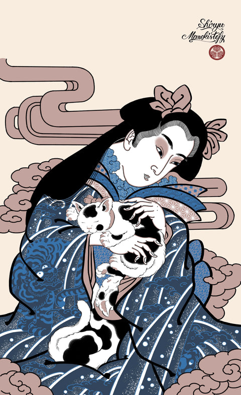 Geisha with cats, prints by Manekistefy and Shiryu