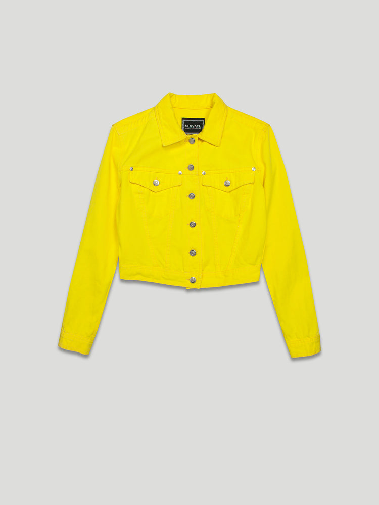 Vintage Cropped Denim Jacket in Yellow