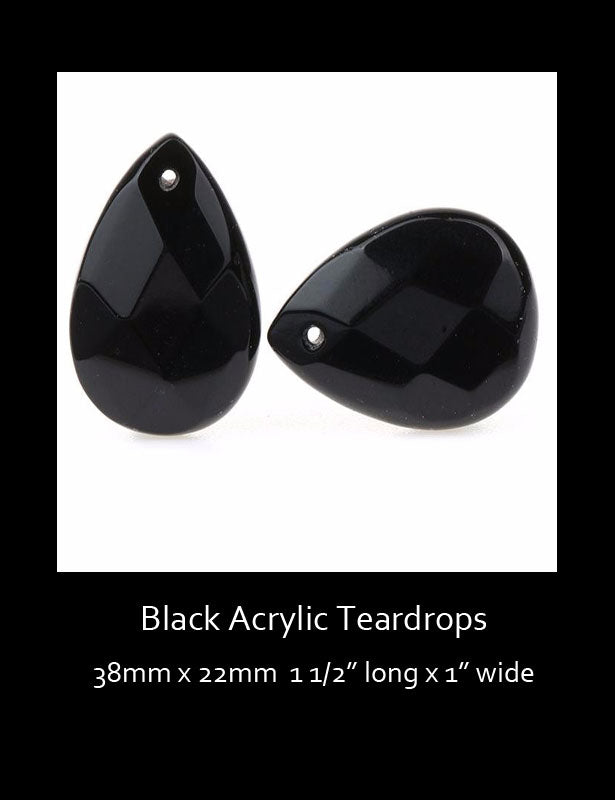 Two acrylic black teardrop beads with a hole in the top for hanging.