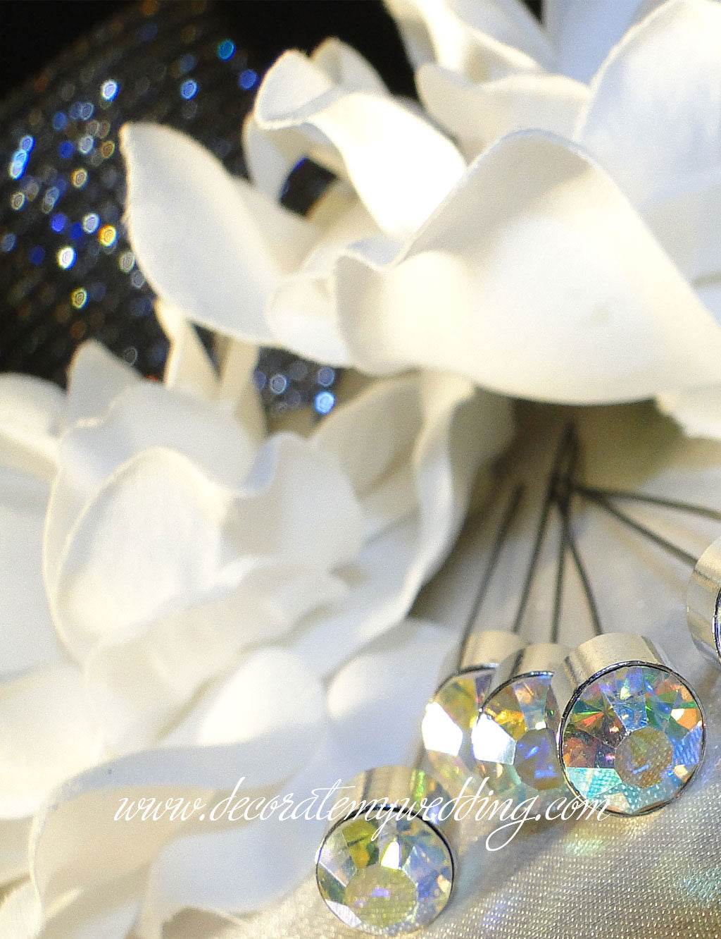 These sparkling clear iridescent crystal beads are perfect bouquet bling for the bride's bouquet.