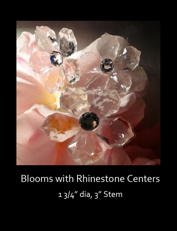 This rhinestone flower consists of five clear acrylic petals with a rhinestone center.