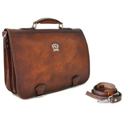 Pratesi Mens Italian Leather Bruce Secchieta Business Messenger Bag In Cow Leather