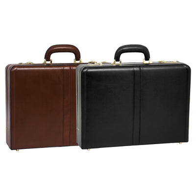 McKlein Mens HARPER Leather Expandable Attache Case