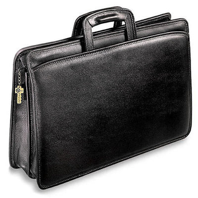 Jack Georges University Double Gusset Zip Top Tri-Pocket Briefcase in Black