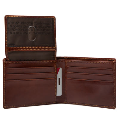 Tony Perotti Italian Leather Classic Bifold Wallet with ID Window Flap in Cognac