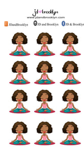 Yoga chibi Doll Sticker Sheet or die cuts