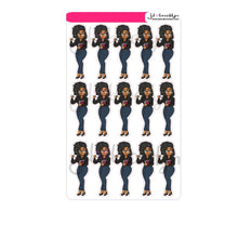 "Curvy ""curves & coffee"" fall doll with locs hairstyle-sticker sheet or die cuts"