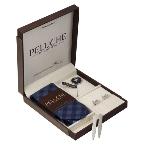 Classic Aeroplane Gift Box Includes 1 Neck Tie, 1 Brooch, 1 Pair of Cufflinks and 1 Pair of Collar Stays for Men | Genuine Branded Product from Peluche.in