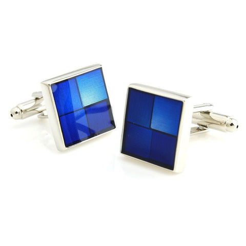 Resin and Metal Play - Blue Cufflinks