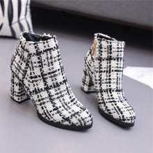 white and black boots tweed boots ankle boots edgability front view