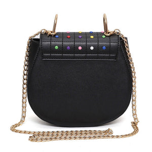 multicoloured studded bag black bag edgability back view