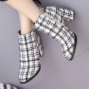 white and black boots tweed boots ankle boots edgability model view