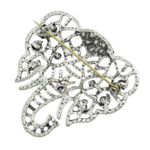 edgability oxidised silver elephant brooch with crystal stones back view