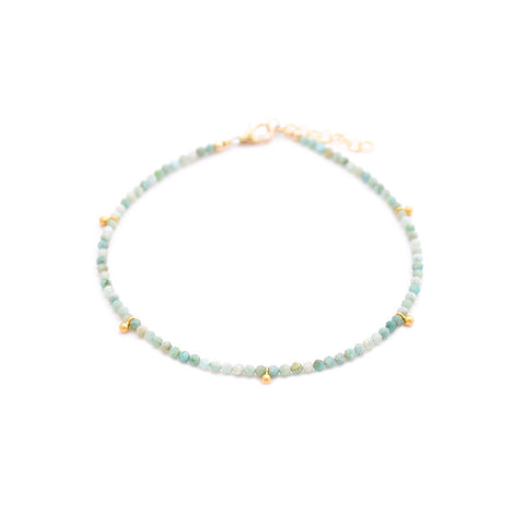 amazonite & gold drops anklet