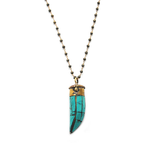 wire-wrapped turquoise horn