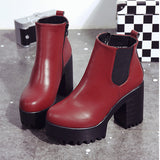 Women's Leather Platform Boots