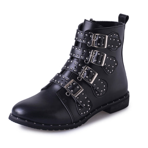 Women's Leather Rivet Boots