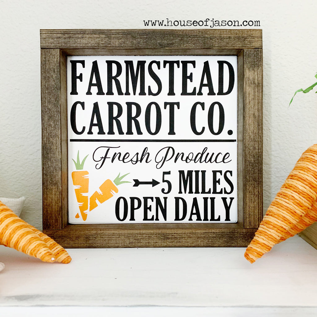 Farmstead Carrot Co. Wooden Sign | 8 x 8