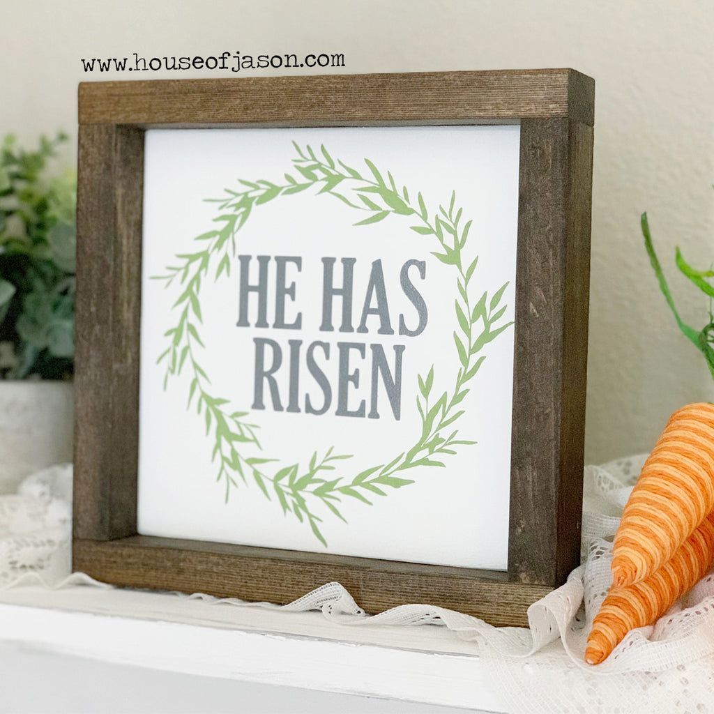 He Has Risen, Hand Painted Wooden Sign | 8 x 8
