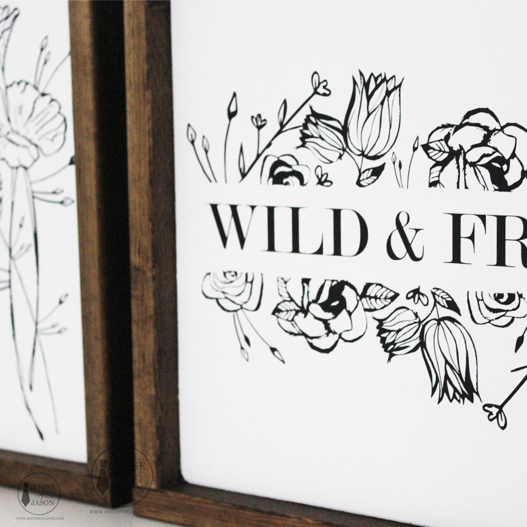 Wild and Free, Boho Inspired, Hand Painted, Floral, Wooden Sign | 12 x 12