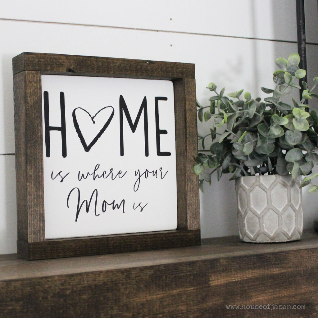 Home is Where Your Mom Is, Hand Painted Wooden Sign| 8 x 8