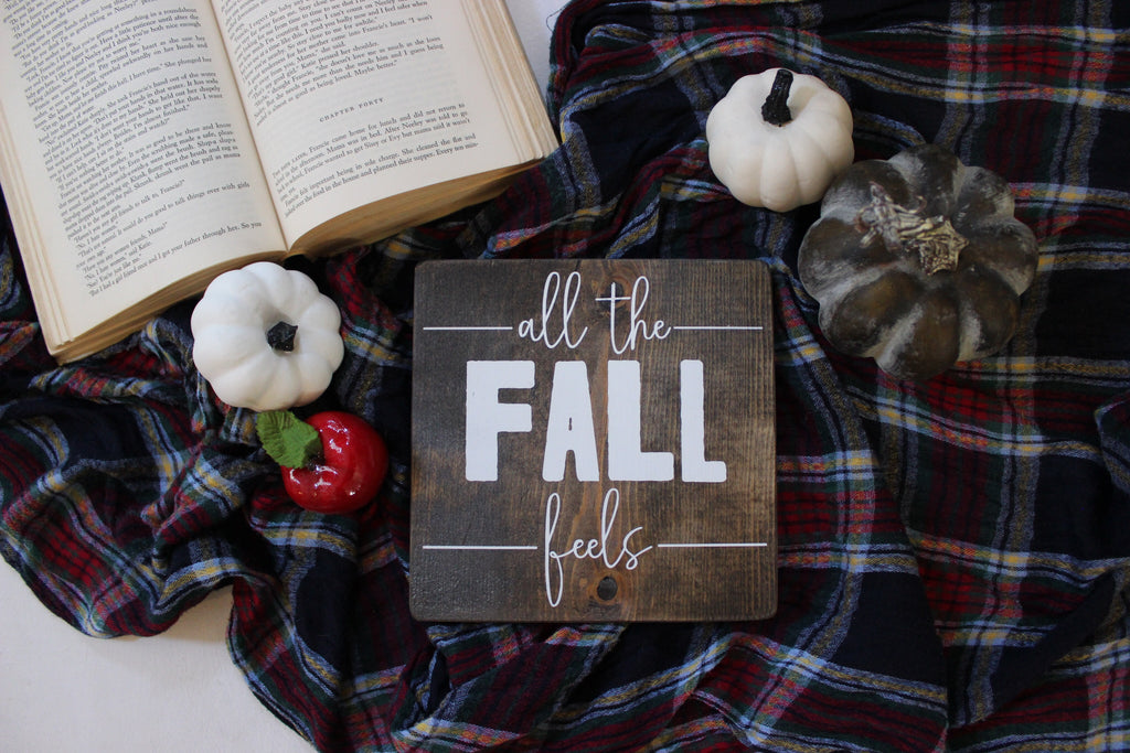 All The Fall Feels Hand Painted Wooden Sign | 7 x 7