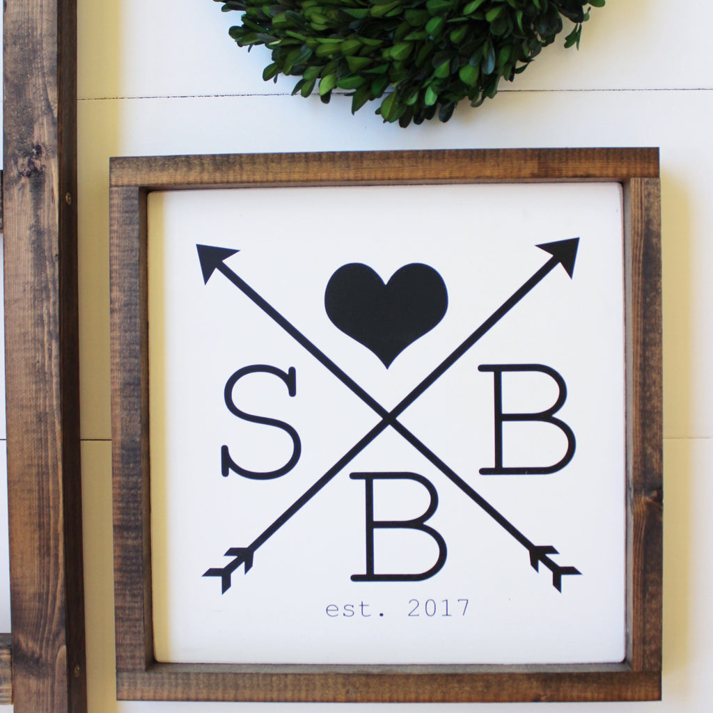 Personalized Initial + Arrow Wooden Sign | 12 x 12
