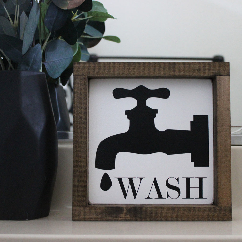 Wash, Farmhouse Style, Faucet, Hand Painted Wooden Sign | 8 x 8