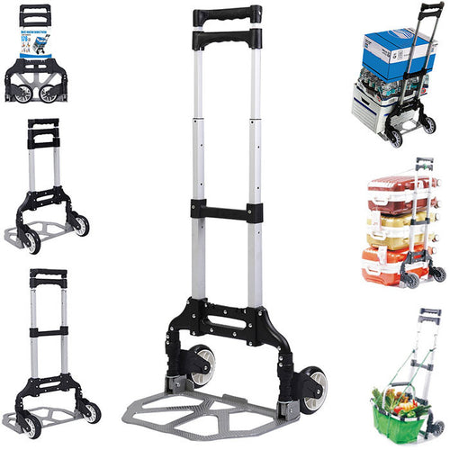 Felji 170lbs Cart Folding Dolly Push Truck Hand Collapsible Trolley Luggage Aluminium