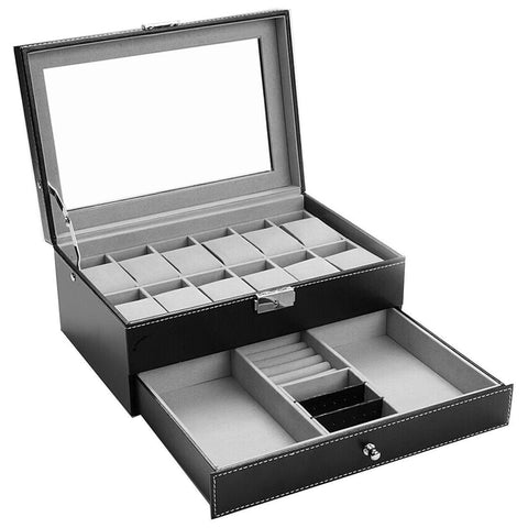 Felji 10-Slot Mens Watch Box Leather Display Case Organizer Black and 16-Piece Watch Tool Kit Combo