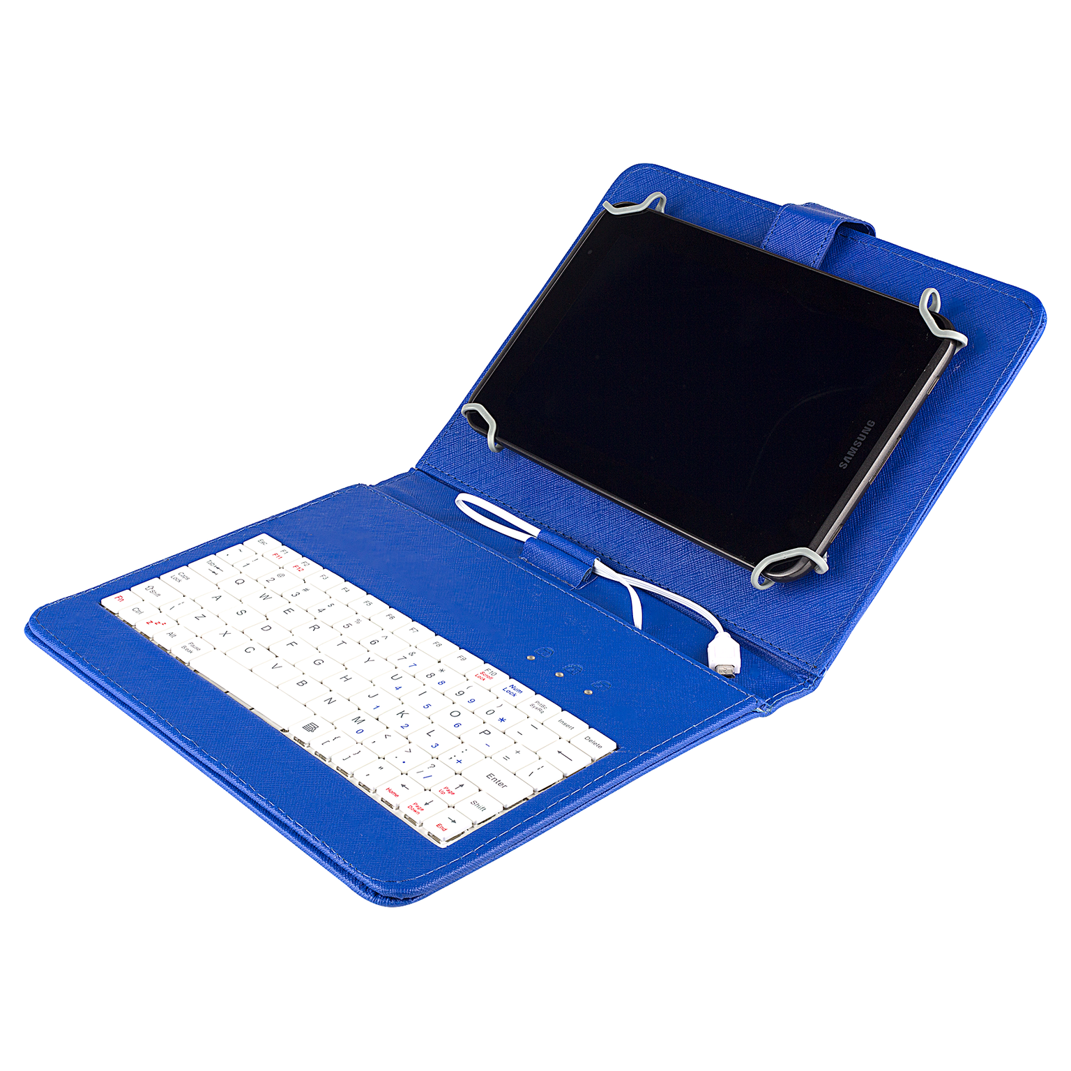 Felji Blue Stand Leather Case Cover for Android Tablet 8-Inch Universal with USB Keyboard
