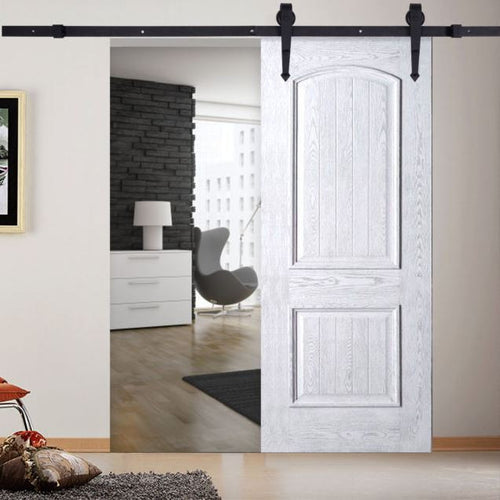 6FT Sliding Track Barn Wood Door Steel Black Sharp Arrow Closet Hardware Set