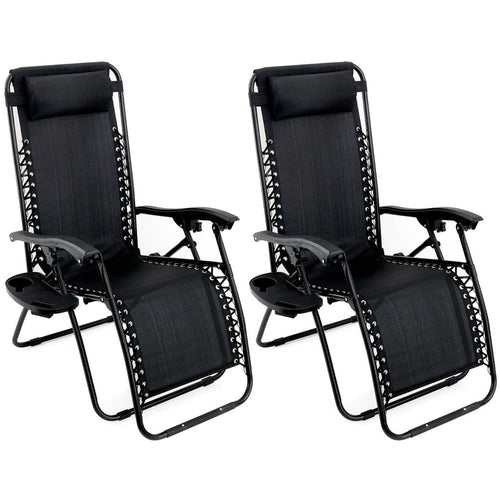 Outdoor Zero Gravity Chair Lounge Patio Folding Recliner Black 2 Pack