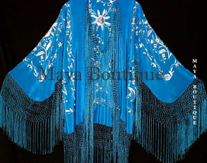 Flamenco Embroidered Silk Fringe Jacket Kimono Teal & Gray Short Maya Matazaro