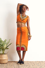 Hassana Dashiki Orange Crop Top OliveAnkara Ankara Wax Print