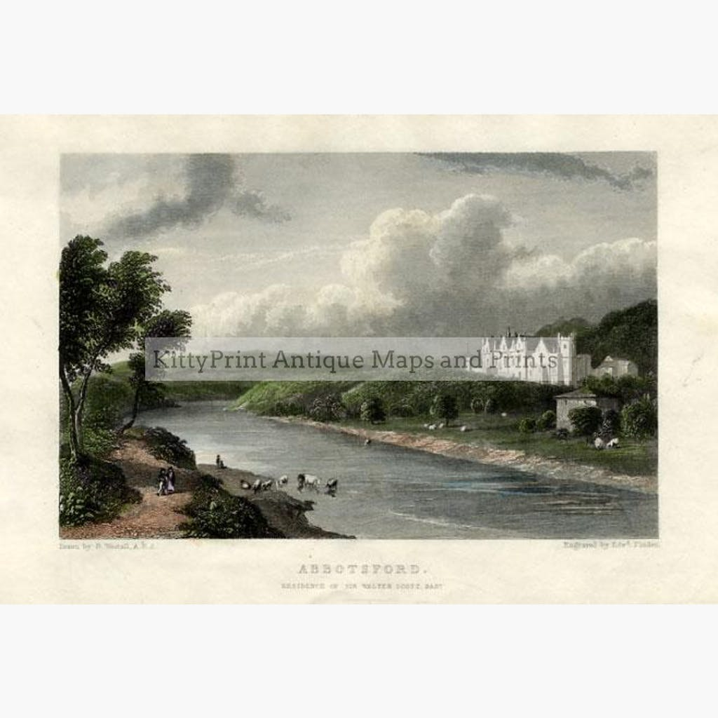 Abbotsford 1840 Prints KittyPrint 1800s Castles & Historical Buildings Landscapes Scotland
