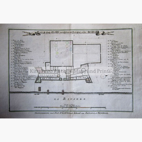 Antique Map Fort St.louis In The Island Of Sanaga Senegal 1747 Maps