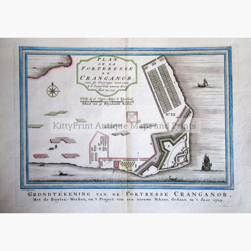 Antique Map Plan De La Forterresse Cranganor 1747 Maps