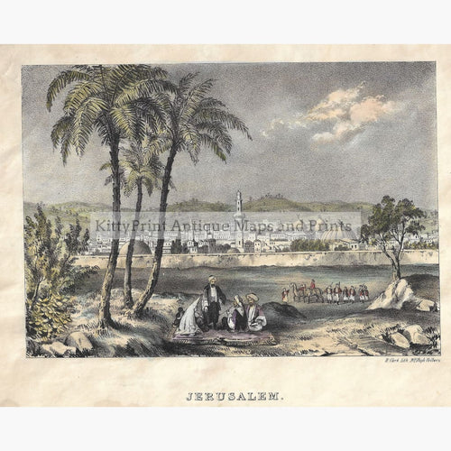 Antique Print Jerusalem. With the Mount of Olives c.1840 Prints