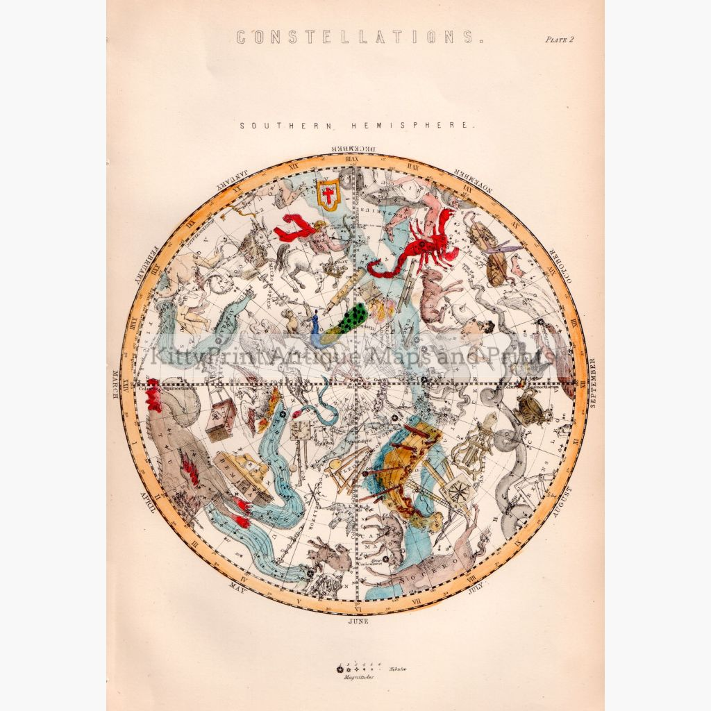 Constellations. Southern Hemisphere 1881 Maps