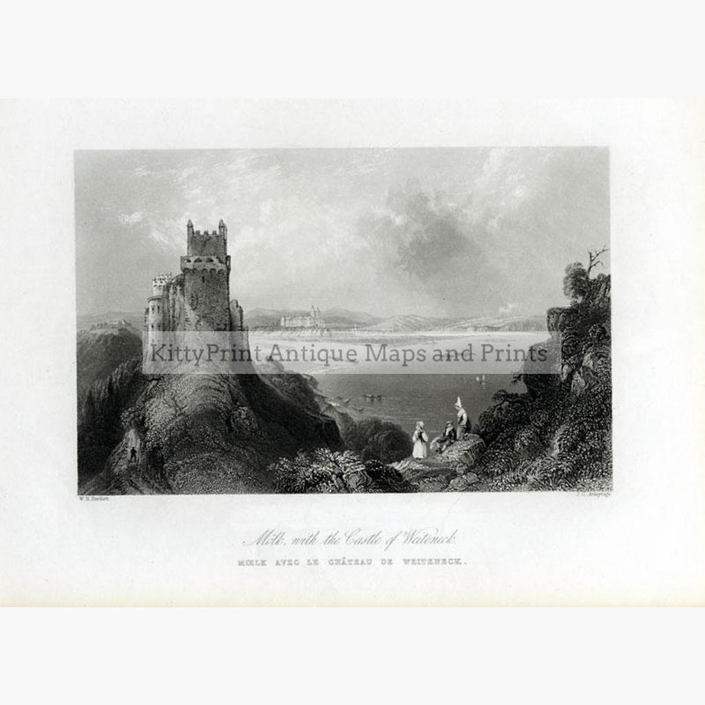 Moelk with the Castle of Weiteneck c.1840o Prints KittyPrint 1800s Austria Landscapes